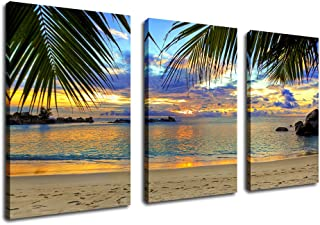 Canvas Wall Art Beach Sunset Living Room Decor Large Tropical Ocean Waves Nature Pictures Bedroom Wall Decor Palm Tree Green Leaf Coast 3 Pieces Canvas Art Seascape Artwork Home Decoration 30