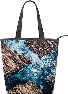 Women's Handbags Canvas Shoulder Bags Rocks Surf Canal Water Australia Handbag Retro Casual Tote Purses