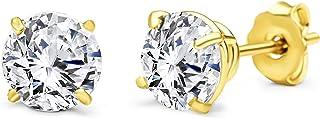 أقراط مستديرة من الذهب الأصفر عيار 10 قيراط للرجال والنساء بسيطة مرصعة بالمجوهرات لأي مناسبة