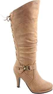 fe0282a8ed082 Top Moda Womens Page-65 Knee High Round Toe Lace-Up Slouched High Heel