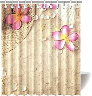 INTERESTPRINT Summer Tropical Beach with Plumeria Seashells Waterproof Shower Curtain Decor, Starfish Fabric Bathroom Set with Hooks, 72(Wide) x 84(Height) Inches