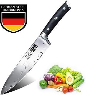 SHAN ZU Cuchillos de Cocina Profesionales, Cuchillo Chef 20cm, 8 Pulgadas Cuchillo de Cocinero de Acero Inoxidable Alemán, Hoja Durable y Afilada para Verduras, Frutas y Carne en Restaurantes y Casa