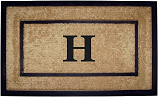 Nedia Home Single Picture Black Frame with Coir Rubber Border Dirt Buster Mat, 22 by 36-Inch, Monogrammed H