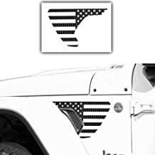 Bogar Tech Designs - Precut Side Fender Vent American Flag Vinyl Decal Compatible with Jeep Wrangler JL 2018, 3D Carbon Fiber Black