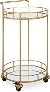 Kate and Laurel Deveaux Modern Metal and Glass Bar Cart, 17.75