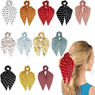 Funlovin Hair Scarf Scrunchie 12pcs Hair Scarves Chiffon Scrunchies with Tails Dot Floral Hair Scarfs for Women Girls Long Hair Ribbon Ties Knotted Patterned Bow Cute Scrunchy Ponytail Holder Red Black Yellow