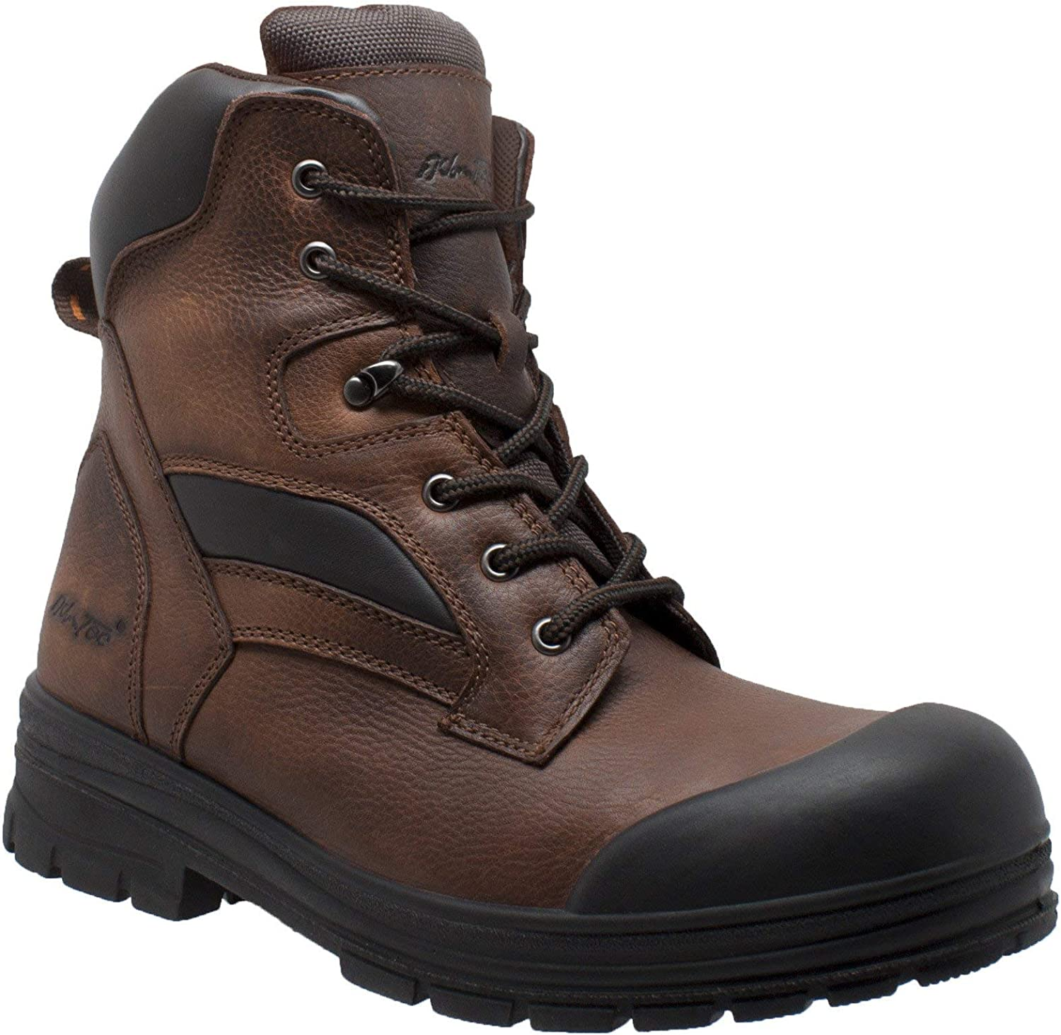 Ad Tec Men's 8in Waterproof Grain Leather Certified Work Boots for Men - Composite Toe, Slip Resistant Outsole with Rubber Toe Cap, Brown