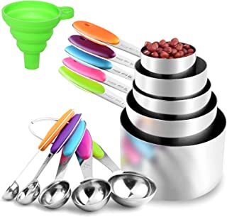 11Piece Measuring Cups and Spoons Set, Stackable Heavy Measuring Spoons and Cups in 18/8 Stainless Steel, Measuring Cup Se...