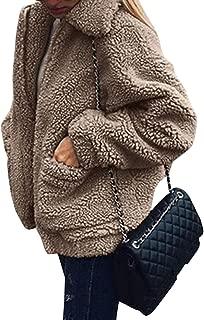 Women's Coat Casual Lapel Fleece Fuzzy Faux Shearling Zipper Warm Winter Oversized..