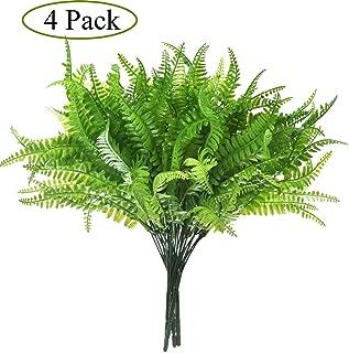 4 Pack ArtificialPlants Boston Fern Bush Plant Shrubs,Artificial Boston Fern Plants Greenery Bushes Flower for House Office Garden Indoor Outdoor Decor
