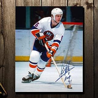 Denis Potvin Autographed Photograph - WHITE JERSEY 8x10 - Autographed NHL Photos