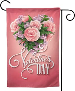 Valentines Day Garden Flag Sweet Rose House Flag Vertical Double Sided Yard Outdoor Decor Party 12.5 X 18 Inch