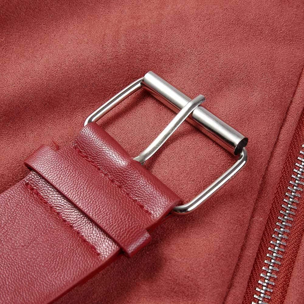 Fanxing Damen Motorradjacke Kunstpelz Fleece Mantel Outwear Warme Revers Biker Motor Aviator Jacke Rot