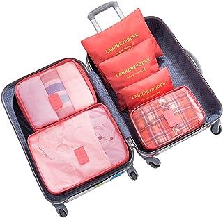 مجموعة من 6 حقائب سفر لتخزين الأمتعة وحزم صناديق تخزين موفر للمساحة (أحمر البطيخ)