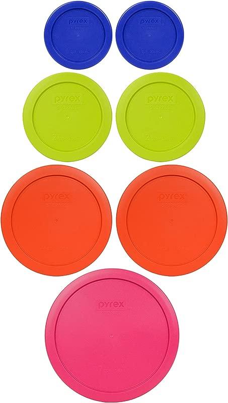 Pyrex 1 7402 PC 6 7 Cup Fuchsia 2 7201 PC 4 Cup Pumpkin Orange 2 7200 PC 2 Cup Green Edamame 2 7202 PC 1 Cup Cobalt Blue Food Storage Lids