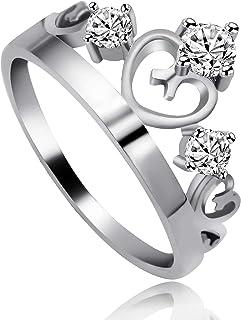 Uloveido Silver Color Cubic Zirconia Princess Heart Crown Tiara Ring Wedding Engagement Jewelry for Women J412
