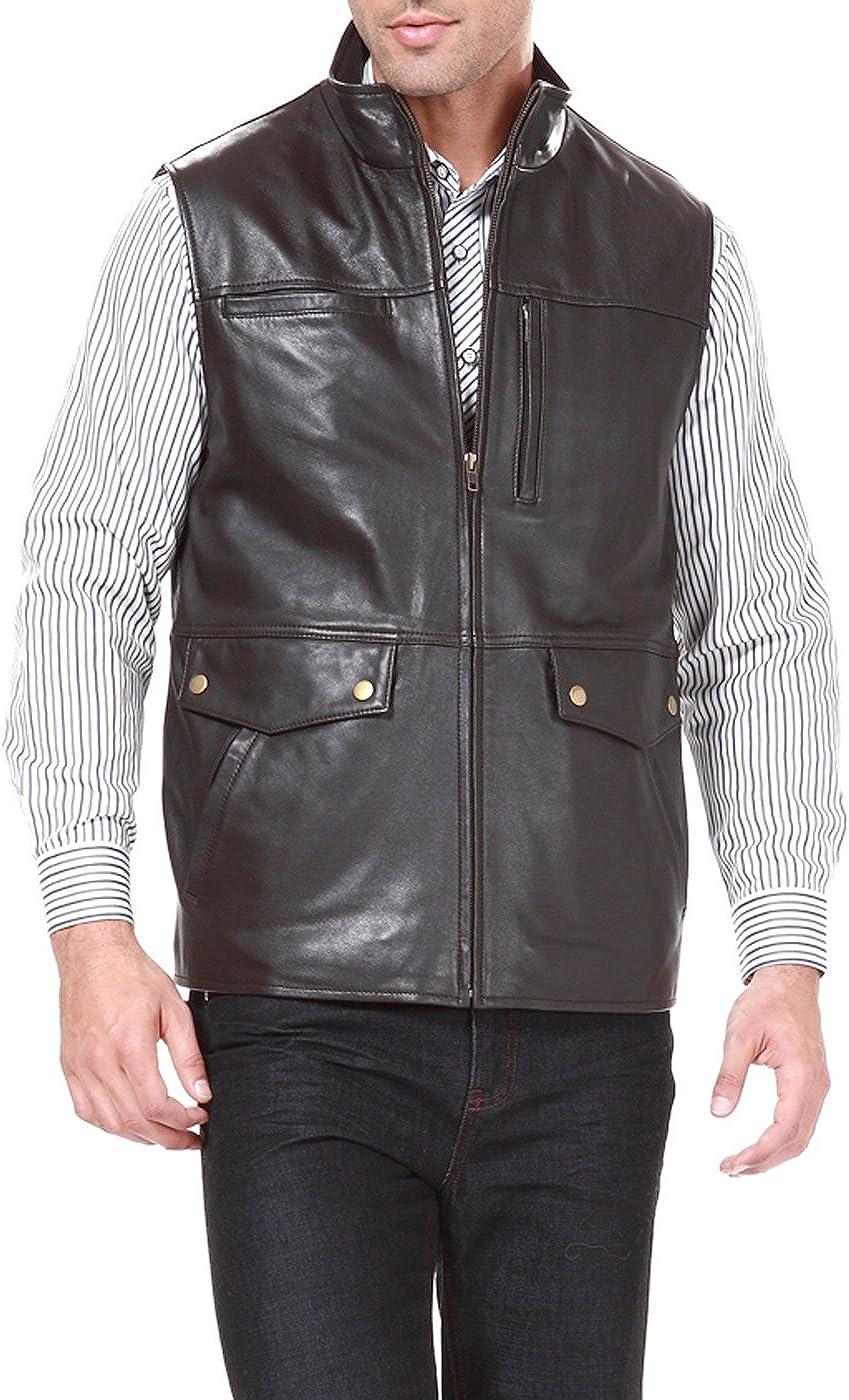 BGSD Men's Goatskin Leather Field Vest (Regular and Big & Tall)