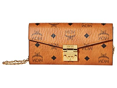MCM Patricia Visetos Flap Wallet/Two-Fold Large (Cognac) Bags