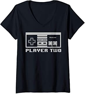 Womens Nintendo NES Controller Player Two 8-Bit V-Neck T-Shirt