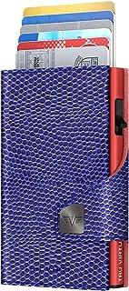 TRU VIRTU Cartera RFID/Protección - Billetera Click & Slide Iguana Violeta Brillante/Rojo