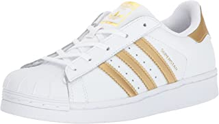 adidas Originals Superstars Running Shoe, White/Gold/Blue, 12K Medium US Little Kid