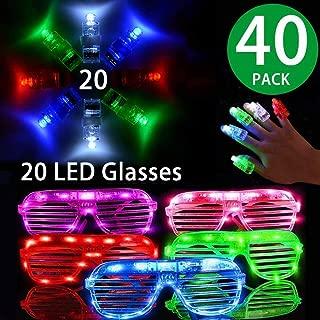 LED Glasses Package ,20 Light Up Glasses ,20 LED Finger Lights,6 Color LED Plastic Sunglasses Shutter Shades and 4 Color LED Finger Lights for Kids and Adults Halloween Glow in the Dark Party Favors