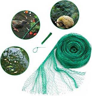 33x13 Ft Anti Bird Net & Pond Netting w/ 10 Pcs Nylon Cable Ties, Green Garden Plant and Pond Protection Netting, Garden Plant Fruits Net Mesh, Keeps Out Debris, Pests
