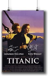 Pentagonwork Titanic Casts Signed Reprint Classic Movie Poster 8x12 A4 Prints w/Stickers 1997 Film, Leonardo Dicaprio Kate Winslet Autographed, Gifts Wall Art Decor Decoration 001-003