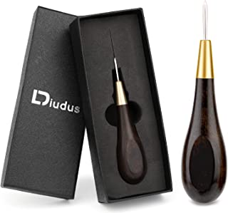 DIUDUS 3mm Wooden Handle Scratch Awl, Leather Awl Tool for DIY Sewing Repairing Canvas Leather, Hand Stitcher Shoes Tool, ...