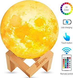 Night Light for Kids Moon Lamp 16 Colors LED 5.9 Inch 3D Print Moon Light with Stand, Touch & Remote Control & USB Rechargeable Baby Light Perfect Birthday Holiday Gift for Lover Friends