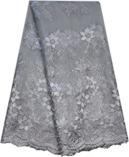 SanVera17 Glitter Stone African Lace Net Fabrics Nigerian Saree Fabric Embroidered and Guipure Cord Lace for Party Wedding (Gray) 5 Yards