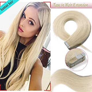 S-noilite 20Pcs 60g Remy Tape in Hair Extensions Human Hair Seamless Skin Weft Invisible Double Sided Glue in hair for women Silky Straight 24 Inch #60 Platinum Blonde Color