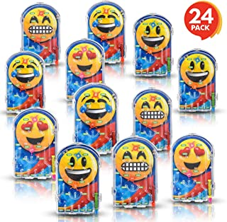 Gamie Assorted Handheld Emoji Pinball Game - Pack of 24 Materials - Variety of Emoji Characters - Fashionably Fun Party Favor - Amazing Gift Idea for Boys and Girls Ages 3+