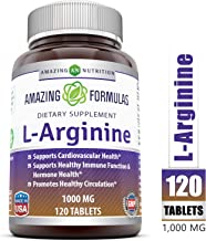 Amazing Nutrition L-Arginine 1000mg Supplement - Best Amino Acid Arginine HCL Supplements for Women & Man - Promotes Circulation and Supports Cardiovascular Health - 120 Tablets