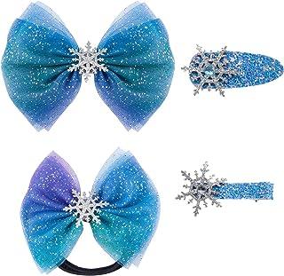Madholly 4 Pcs Christmas Snowflake Hair Accessories Crystal Hair Clips and Hair Ties Set- Blue Snowflake Duck Clip Barrett...