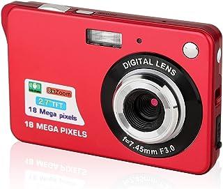 Digitalkamera, CamKing 2,7 Zoll Digitalkamera, 18 MP HD Kamera für Rucksacktouren, Mini Digitalkamera Taschenkameras Digital mit Zoom, Kompaktkameras für Fotografie (Rot)