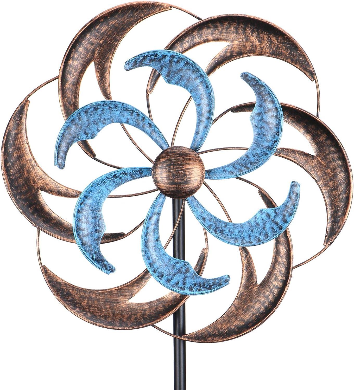Wind Spinner Outdoor Garden Decor - 4.8 FT Kinetic Wind Sculpture Metal Windmill for Outdoor Yard Patio Lawn & Garden