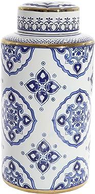 "Sagebrook Home 13461-01 Ceramic Jar, 8"" x 8"" x 16"", Blue/White/Gold"
