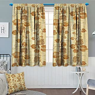 Strongger Grapes Home Decor Window Curtain Drape Cuisine Figure on Ancient Egyptian Papyrus Parchment Aged Crumpled Artwork Decorative Curtains for Living Room 52