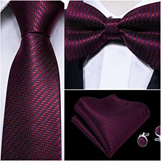 YOHOWA Mens Tie and Pocket Square Set, Silk Tie Pretied Bow Tie with Cufflinks