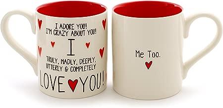 "Enesco 6000504 Our Our Name Is Mud ""I Love You, Me Too"" Stoneware Mug Set, 12 oz, Red"