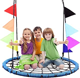 NSdirect 40'' Spider Web Swing ,700lb Tree Swing for Tree Kids with Steel Frame and 2 Hanging Straps and Flags, Fun for Kids (Blue)