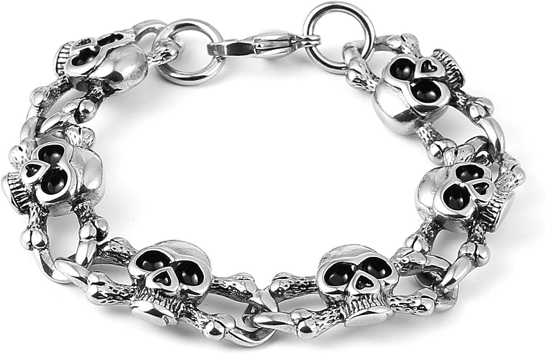 HZMAN Gothic Bike Stainless NEW Steel fo Bracelet Charm Store Skull Linked