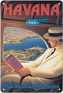 Pacifica Island Art Havana, Cuba - Pan American Airways (PAA) - Vintage Airline Travel Poster by Kerne Erickson - 8in x 12...