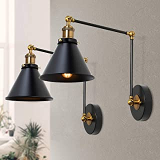 LNC Wall Sconces, Swing Arm Plug-in or Hardwire Lamp Antique Brass and Black Matte Finish (2 Pack) A03469,