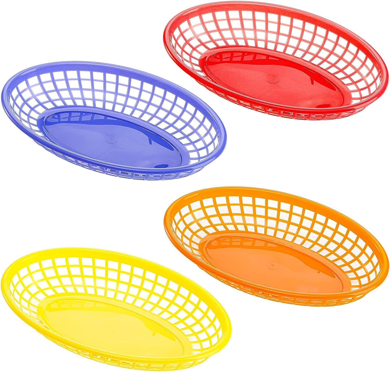 Kingrol 48 Pack Oval Fast Food Baskets, Plastic Storage Basket Bins for Home, Office, School, Picnic