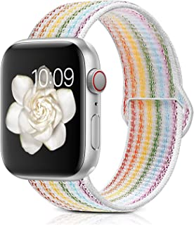 Misker Compatible with for Apple Watch Band 38mm 40mm 42mm 44mm Soft Nylon Sport Loop Replacement for Watch Series 4 3 2 1