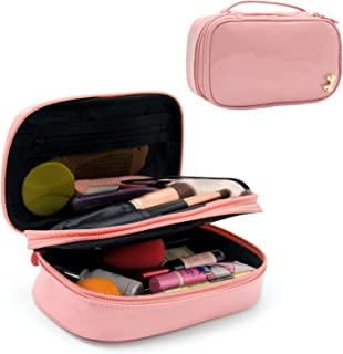 f0444db7bc44 Makeup Bag Small Travel Cosmetic Bag for Women Girls Makeup Brushes Bag  Portable 2 Layer Cosmetic Case with Brush Organizer Christmas Gift (Pink)