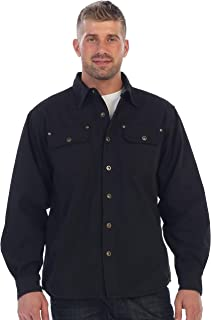 Men's Brushed and Soft Twill Shirt Jacket with Flannel Lining