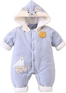 Minizone Baby Strampler mit Kapuze Jungen Mädchen Overall Winter Outfits Langarm Baumwolle Schneeanzug Jumpsuit 0-12 Monate